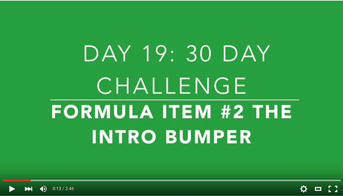 Day 19: Item #2 for the Video Framework, Intro Bumpers